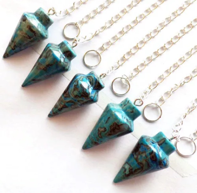 Blue Crazy Lace Agate Cone Pendulum Crystal Gifts Uk